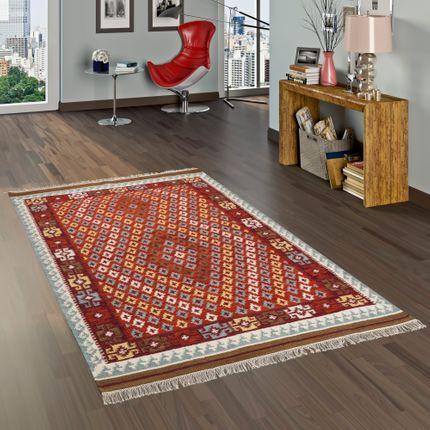 Natur Teppich Kelim Sumak Rot Bordüre online kaufen
