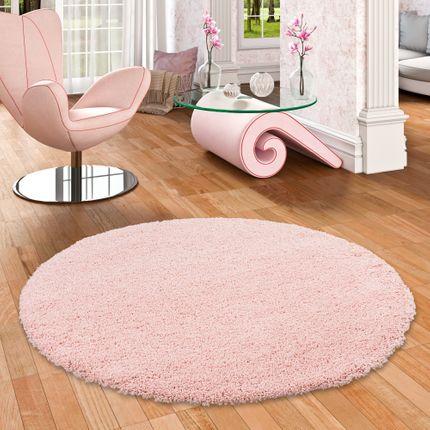 Hochflor Langflor Shaggy Teppich Luxury Rosa Rund