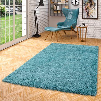 Hochflor Langflor Shaggy Teppich Luxury Türkis Blau online kaufen