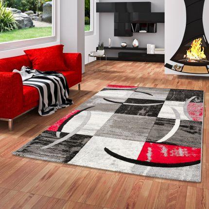 Designer Teppich Brilliant Karo Rot Grau Trend online kaufen