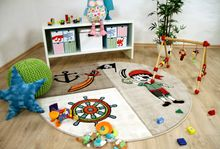 Kinder Teppich Savona Kids Lustiger Pirat Beige Rund online kaufen