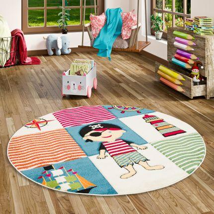 Kinder Teppich Savona Kids Piratenwelt Bunt Rund online kaufen