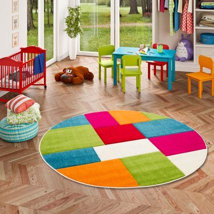 Kinder Teppich Savona Kids Karo Bunt Design Multicolour Rund online kaufen
