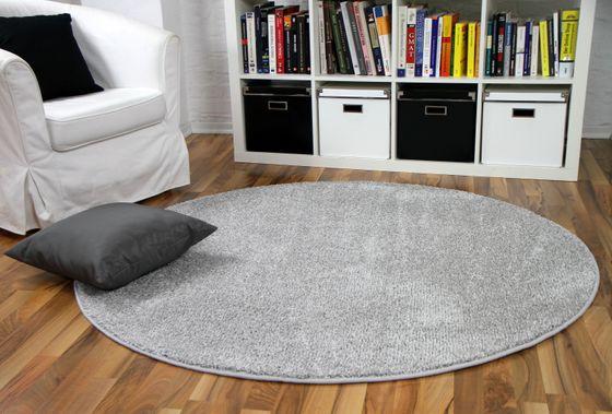 Hochflor Velours Teppich Mona Silbergrau Rund online kaufen