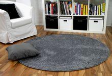 Hochflor Velours Teppich Mona Grau Rund online kaufen