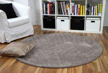 Hochflor Velours Teppich Mona Taupe Rund online kaufen