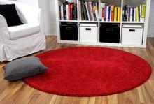 Hochflor Velours Teppich Mona Rot Rund online kaufen
