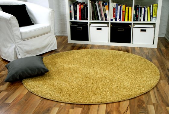 Hochflor Velours Teppich Mona Curry Rund online kaufen