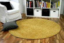 Hochflor Velours Teppich Mona Curry Gelb Rund online kaufen