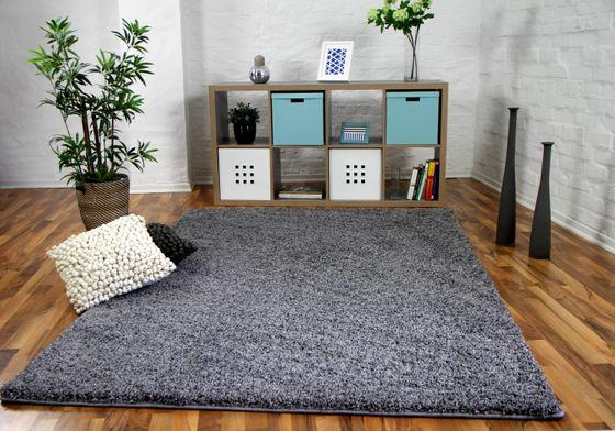 Luxus Hochflor Langflor Teppich Milano Grau