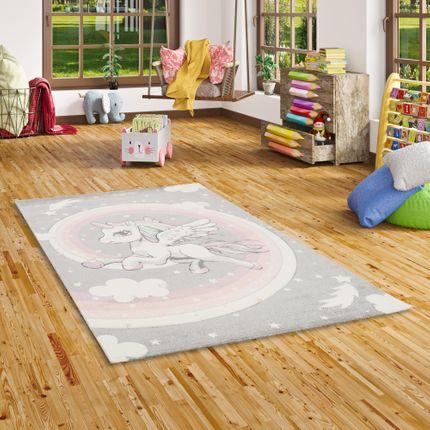 Kinder Teppich Maui Kids Pastell Grau Rosa Einhorn