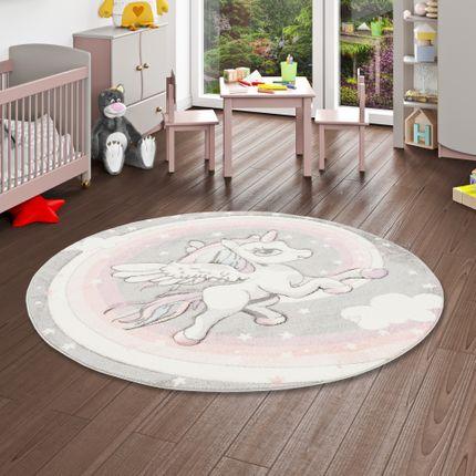 Kinder Teppich Maui Kids Pastell Grau Rosa Einhorn Rund