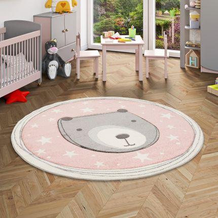Kinder Teppich Maui Kids Pastell Rosa Bär Rund online kaufen