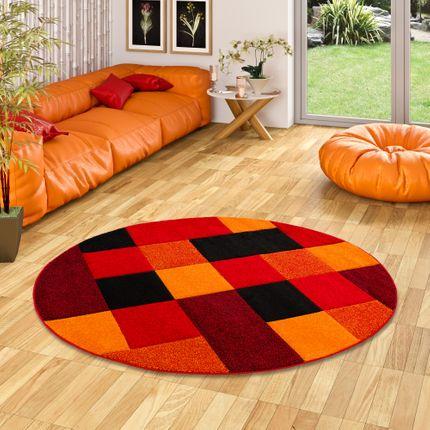 Designer Teppich Brilliant Rot Orange Karo Rund online kaufen