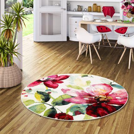 Designer Teppich Brilliant Rosa Blumen Rund online kaufen