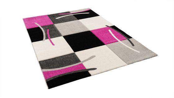 Designer Teppich Maui Schwarz Pink Karo online kaufen