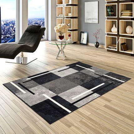Teppich Modern Trendline Schwarz Grau Karo online kaufen