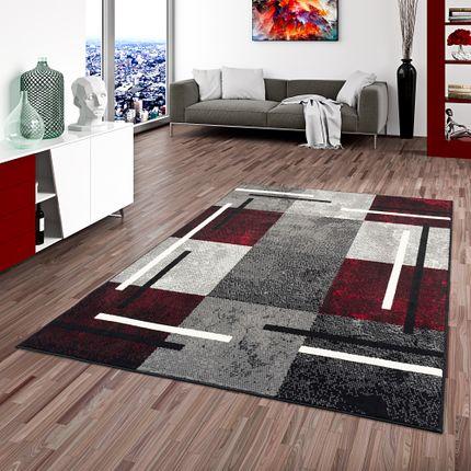 Teppich Modern Trendline Schwarz Rot Karo online kaufen