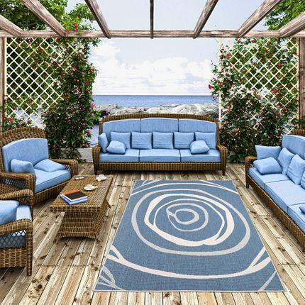In- und Outdoor Teppich Beidseitig Flachgewebe Newport Blau Kreise online kaufen