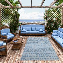 In- und Outdoor Teppich Beidseitig Flachgewebe Newport Blau Grau Punkte online kaufen
