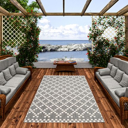 In- und Outdoor Teppich Beidseitig Flachgewebe Newport Modern Karo Silber online kaufen
