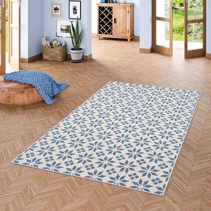 In- und Outdoor Teppich Beidseitig Flachgewebe Newport Fliesenoptik Blau Creme online kaufen