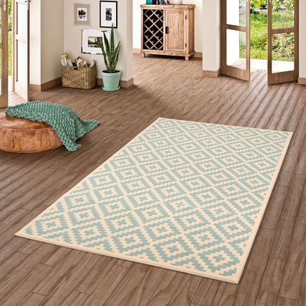Designer Teppich Passion Rauten Modern Blau online kaufen