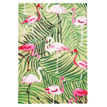 Designer Teppich Faro Tropical Flamingos Grün online kaufen