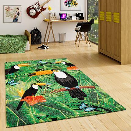 Designer Teppich Faro Tropical Tukan Grün online kaufen