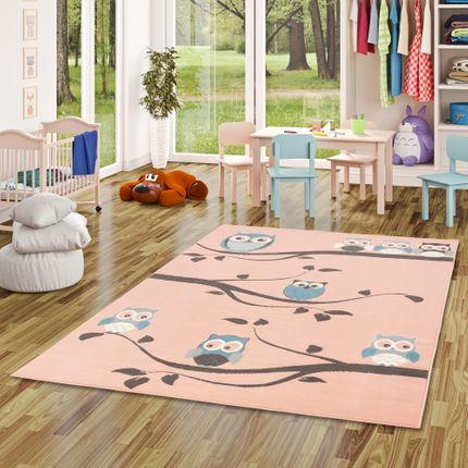 Kinderteppich Trendline Eulen Pastell Rosa