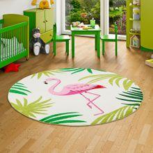 Designer Teppich Faro Tropical Flamingo Pink Creme Rund online kaufen