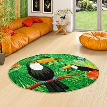 Designer Teppich Faro Tropical Tukan Grün Rund online kaufen