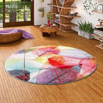 Designer Teppich Faro Tropical Bunte Blätter Rund