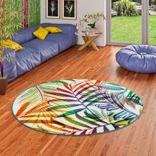 Designer Teppich Faro Tropical Bunte Zweige Rund online kaufen