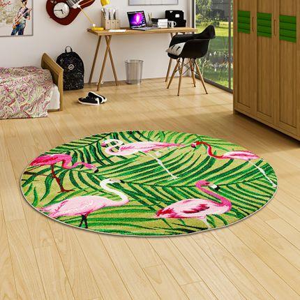 Designer Teppich Faro Tropical Flamingos Grün Rund online kaufen