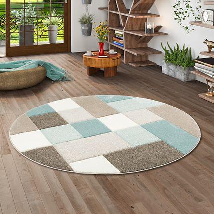 Designer Teppich Maui Pastell Blau Beige Karo Rund online kaufen