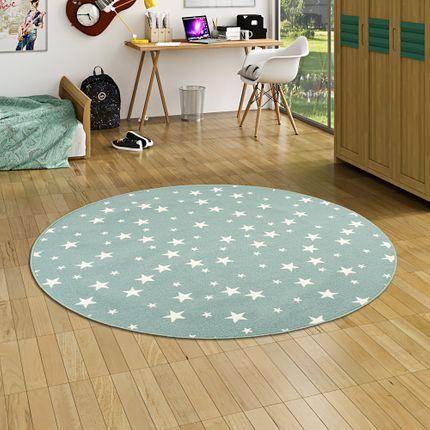 Kinder Spiel Teppich Sterne Mintgrün Rund online kaufen