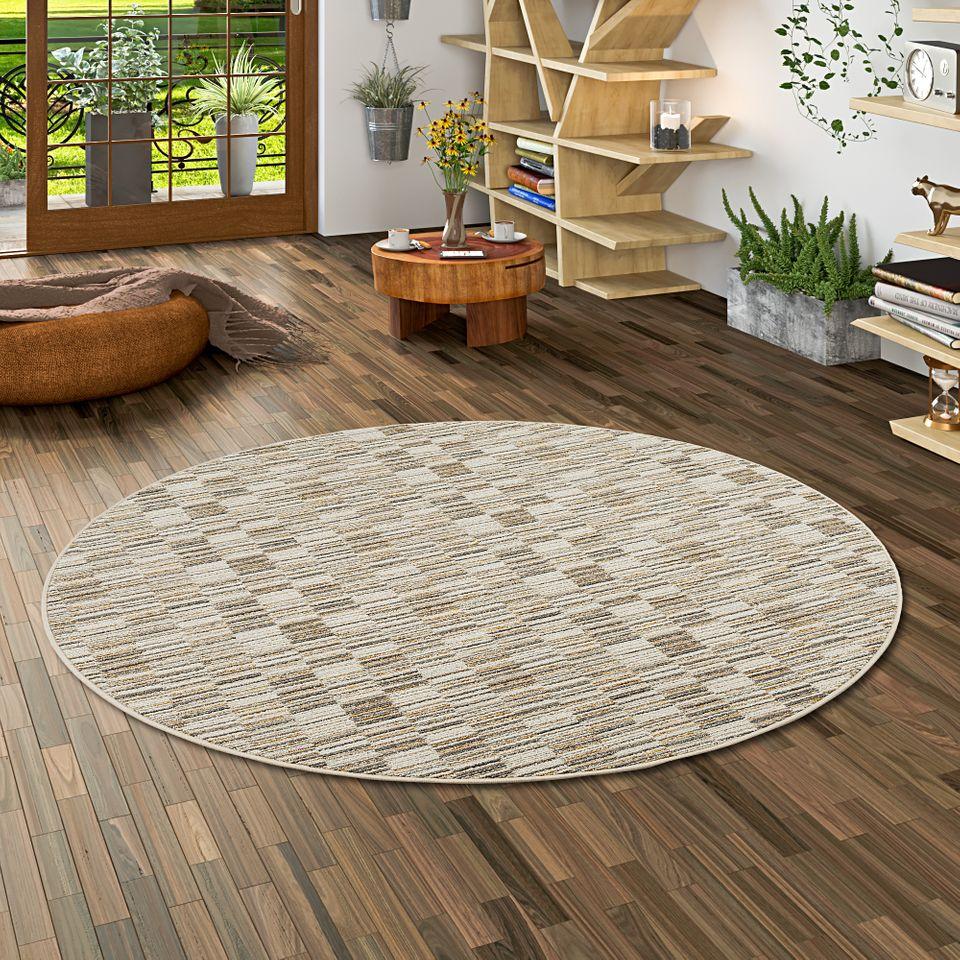 streifenberber teppich modern stripes beige rund teppiche designerteppiche snapstyle teppiche. Black Bedroom Furniture Sets. Home Design Ideas