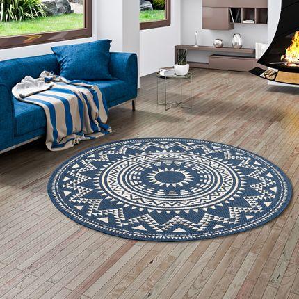Modern Flachgewebe Ruggy Mandala Blau Rund online kaufen