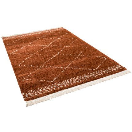 Hochflor Langflor Shaggy Teppich Boho Rauten Terrakotta online kaufen
