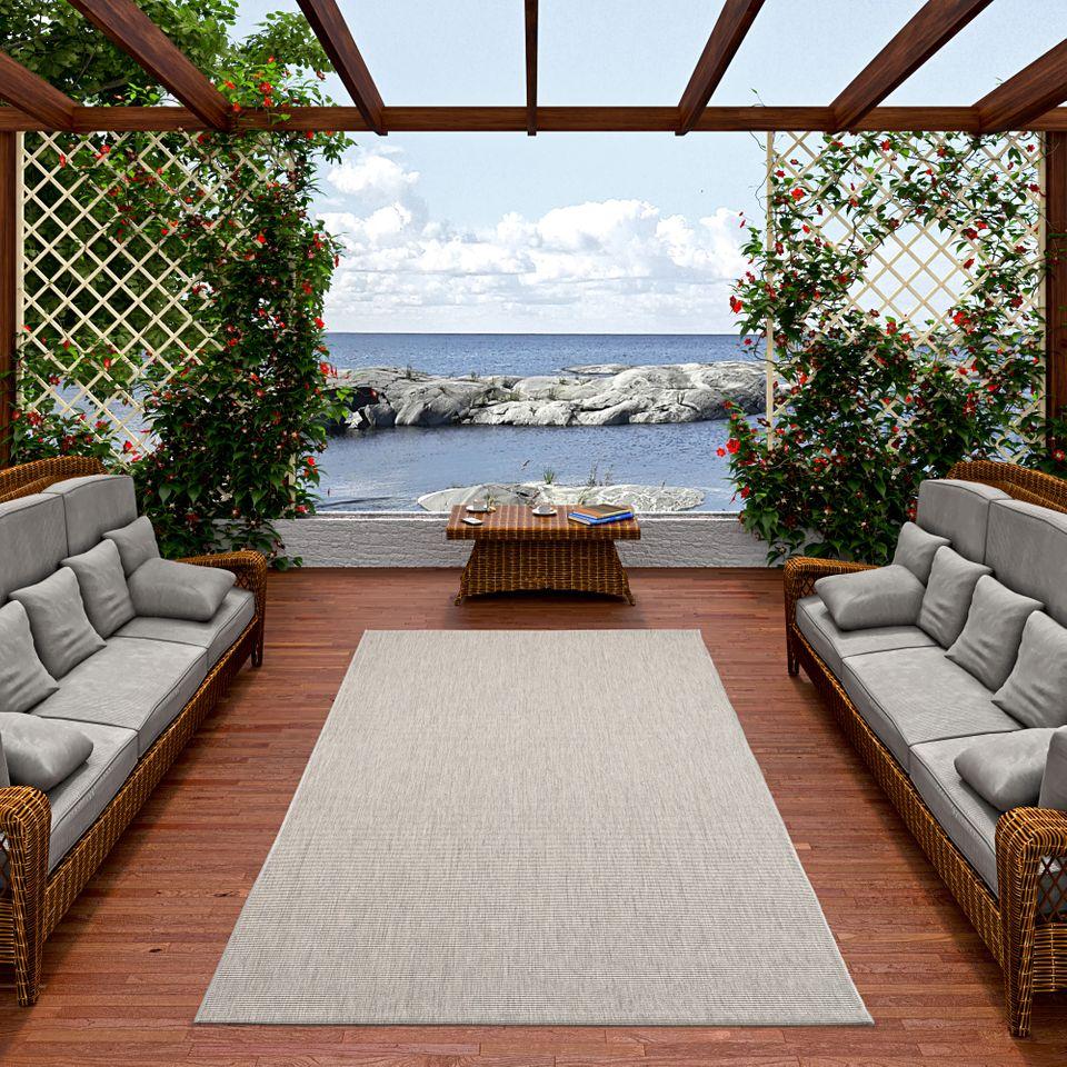 in und outdoor teppich flachgewebe carpetto uni grau mix teppiche sisal und naturteppiche. Black Bedroom Furniture Sets. Home Design Ideas