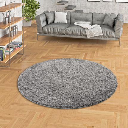 Luxus Hochflor Langflor Teppich Milano Grau Rund