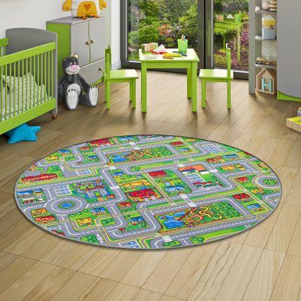 Kinder Spiel Teppich Abenteuerland Bunt Rund