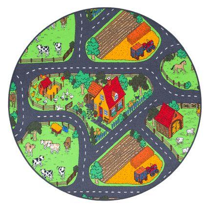 Kinder Spiel Teppich Bauernhof Grün Rund online kaufen