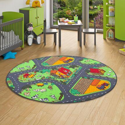 Kinder Spiel Teppich Bauernhof Grün Rund