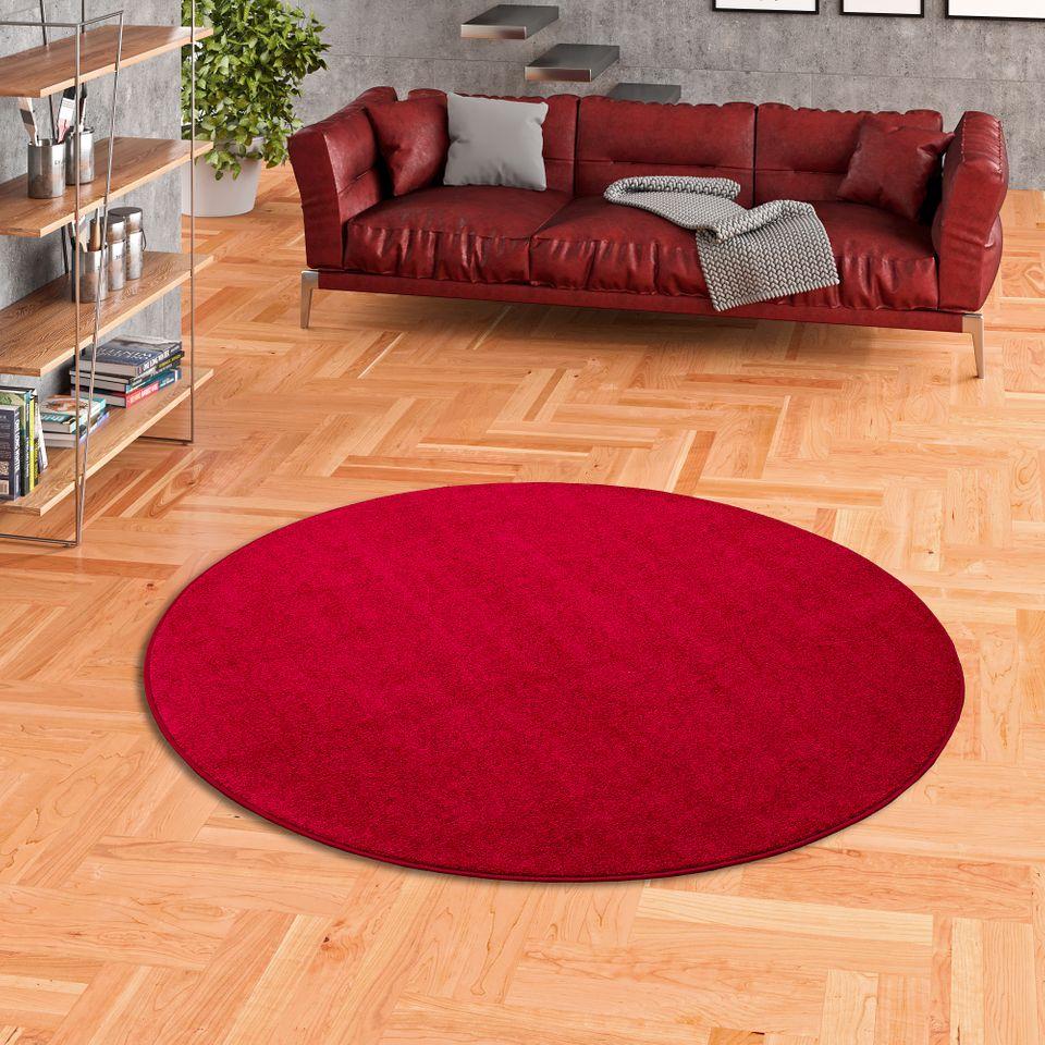 hochflor velours teppich luna rot rund teppiche. Black Bedroom Furniture Sets. Home Design Ideas