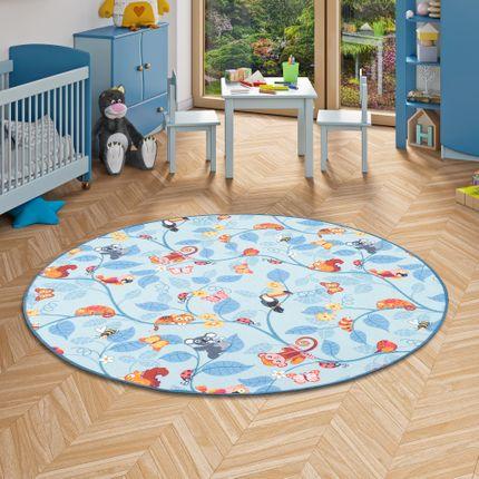 Kinder Spiel Teppich Velours Urwaldtiere Blau Rund online kaufen