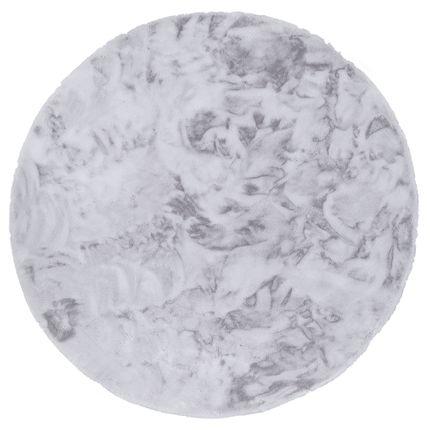 Luxus Super Soft Fellteppich Plush Hellgrau Rund online kaufen
