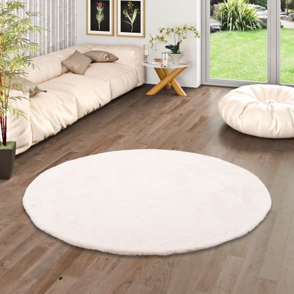 Luxus Super Soft Fellteppich Plush Creme Rund