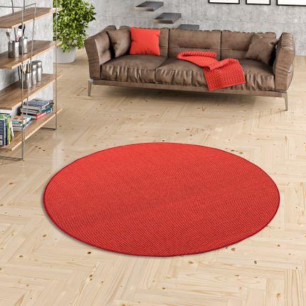 Sisal Natur Teppich Astra Rot Rund